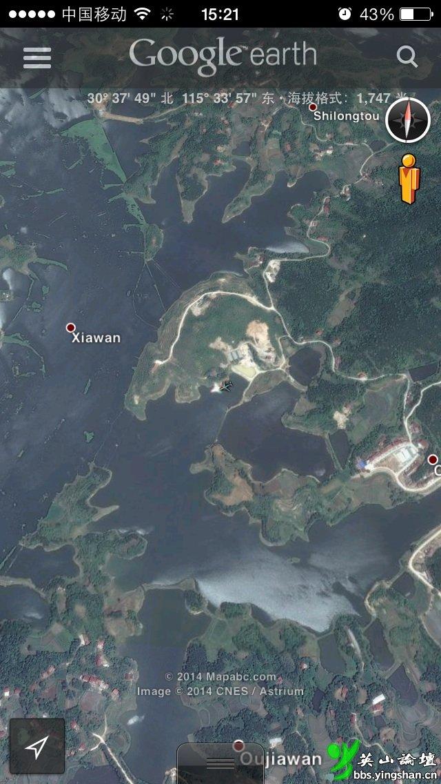 谷歌地球 抓拍鸡鸣河上空一架飞机低空飞行