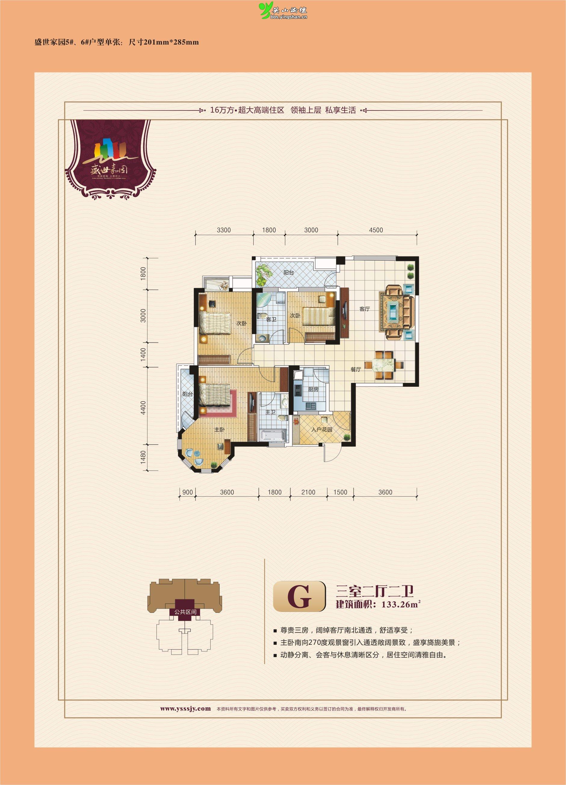 6#盛世嘉园133平方户型图(三室两厅两卫双阳台).jpg